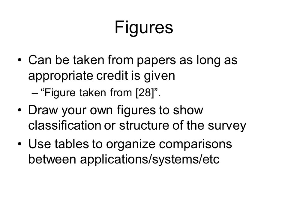 Figures Can be taken from papers as long as appropriate credit is given. Figure taken from [28] .